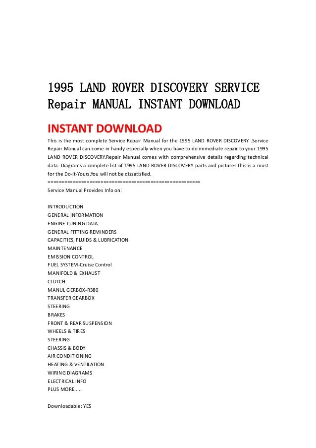 land rover discovery manual free download